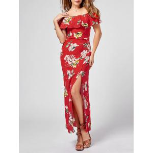Off The Shoulder Floral Slit Maxi Dress