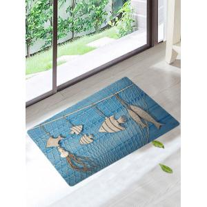 Skidproof Wood Fish Fishing Net Area Rug