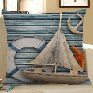 Wood Grain Sailboat Starfish Anchor Print Pillow Case - Light Blue - 45*45cm