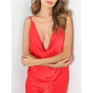 Low Cut Front Slit Night Club Dress - RED S