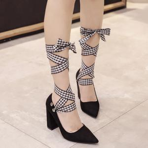 Tie Up Changeable Point Toe Pumps - BLACK 37