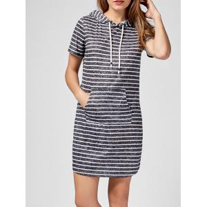 Kangaroo Pocket Hooded Striped Mini Dress