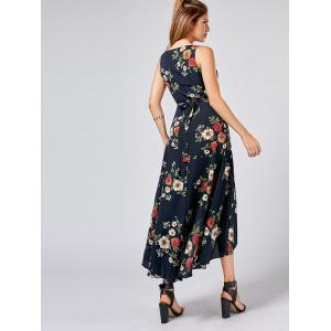 Asymmetric Floral Wrap Long Dress - CADETBLUE M
