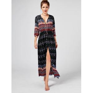 Tribal Print High Split Bohemian Dress - Noir XL
