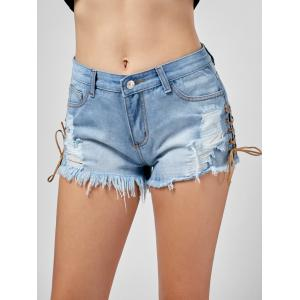 Lace Up Frayed Ripped Denim Shorts -