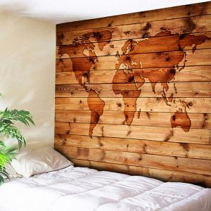 World Map Print Wall Hanging Wood Grain Tapestry - Rosewood - W91 Inch * L71 Inch