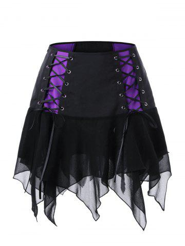 Fancy Lace Up Mini High Waist Skirt - 2XL BLACK Mobile