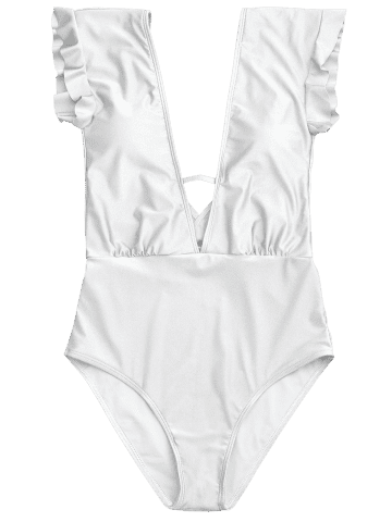 Chic Frilled One Piece Plunge Swimsuit - L WHITE Mobile