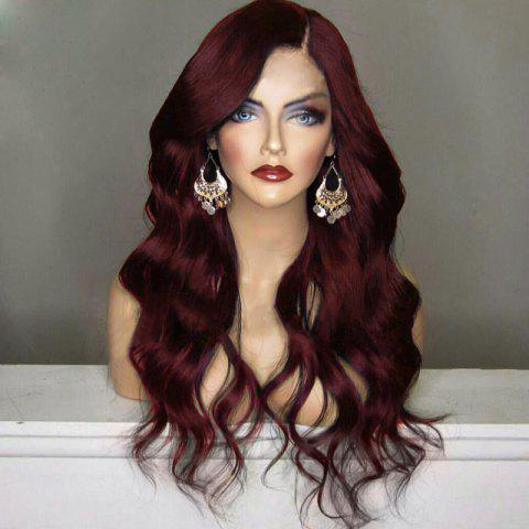 New Long Shaggy Side Part Wavy Synthetic Wig - WINE RED  Mobile