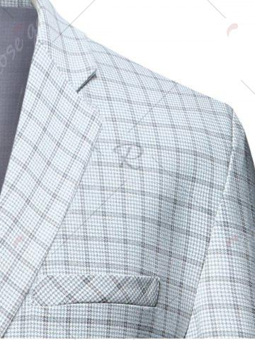 Fancy Lapel Check Blazer with Flap Pocket - 3XL CHECKED Mobile