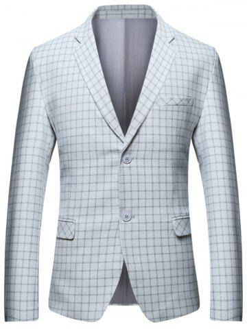 Lapel Check Blazer with Flap Pocket Carré M