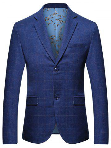Outfits Lapel Collar Grid Blazer with Chest Pocket - 3XL BLUE Mobile