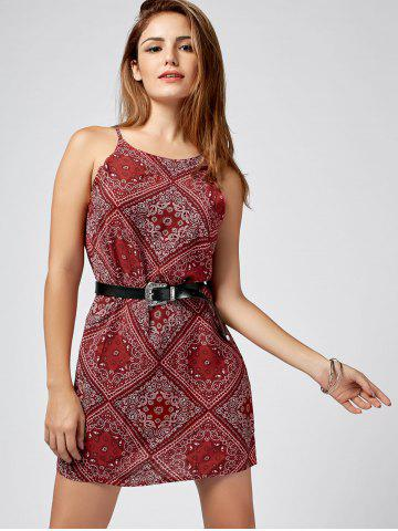 Online Paisley Print Mini Sundress - S RED Mobile