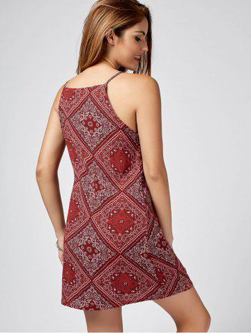 Trendy Paisley Print Mini Sundress - XL RED Mobile