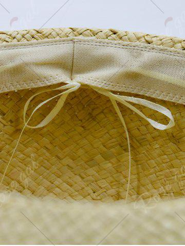 Outfit Beaded Decoration Sun Floppy Straw Hat - YELLOW  Mobile