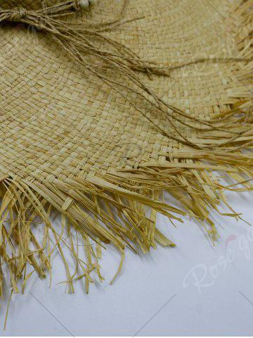 Store Beaded Decoration Sun Floppy Straw Hat - YELLOW  Mobile