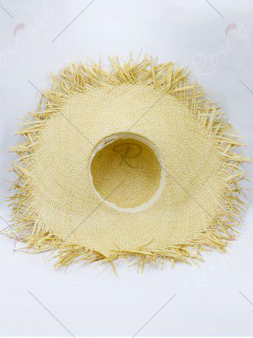 Cheap Beaded Decoration Sun Floppy Straw Hat - YELLOW  Mobile