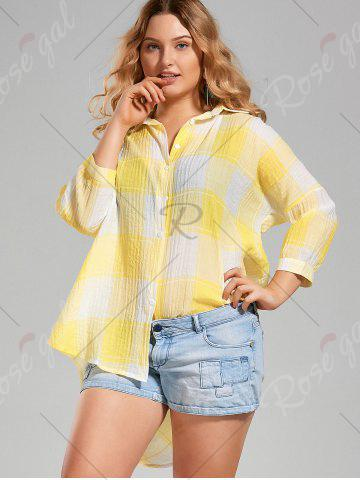 Trendy Plus Size High Low  Long Button Up Plaid Shirt - 4XL YELLOW Mobile