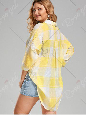Shops Plus Size High Low  Long Button Up Plaid Shirt - 4XL YELLOW Mobile