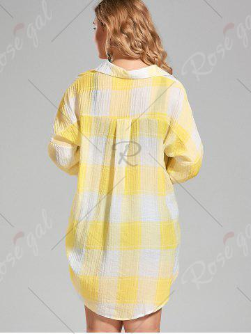 Sale Plus Size High Low  Long Button Up Plaid Shirt - 4XL YELLOW Mobile