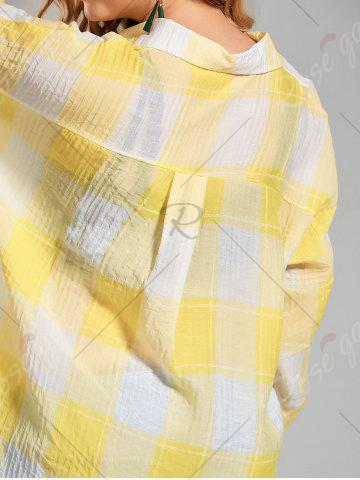 Discount Plus Size High Low  Long Button Up Plaid Shirt - 4XL YELLOW Mobile