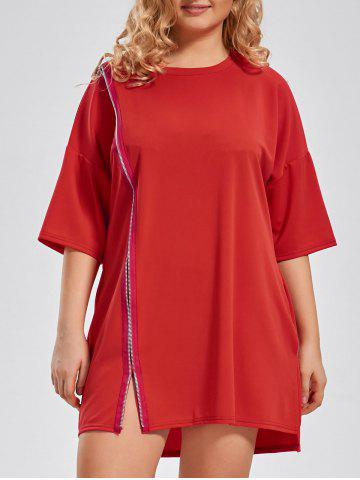Zip Front Plus Size Long T-shirt - Red - 4xl