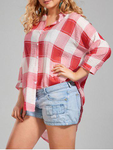 Plus Size High Low  Long Button Up Plaid Shirt - Red - 4xl