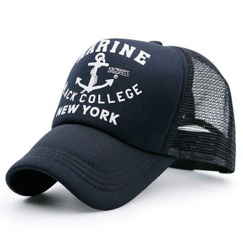 Outfit Mesh Boat Anchor Patterned Baseball Cap BLACK