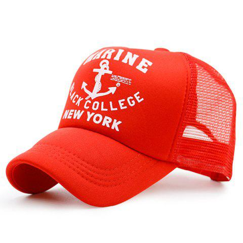 Mesh Boat Anchor Patterned Baseball Cap - Red - L