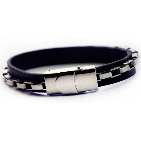 Chain Link Faux Leather Bracelet - Silver