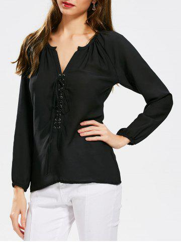 Long Sleeve Self Tie Lace Up Blouse - Black - Xl