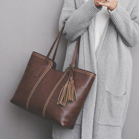 Affordable Faux Leather Tassel Shoulder Bag - BROWN  Mobile