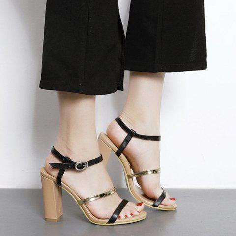 Cheap Color Block High Heel Sandals BLACK 37