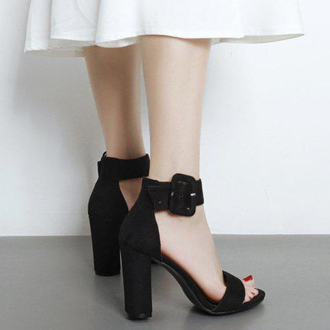 High Heel Ankle Strap Sandals - Black - 38