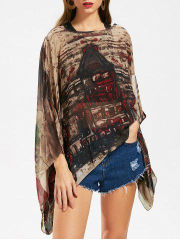 Outfit Butterfly Sleeve Printed Chiffon Top