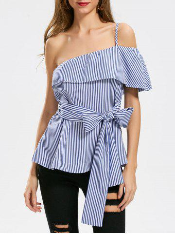 Unique Stripe Ruffle One Shoulder Blouse