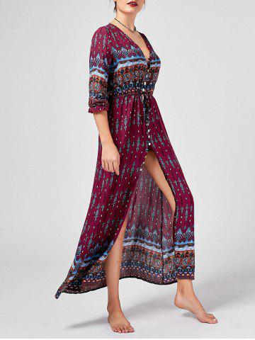 Buy Tribal Print High Split Bohemian Dress WINE RED 2XL