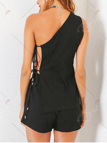 Chic Ribbed One Shoulder Cut Out Top with Shorts - S BLACK Mobile