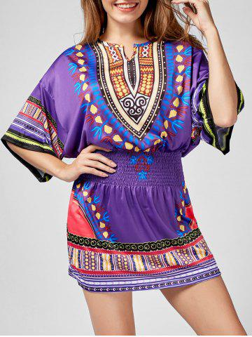 Shirred Waist Batwing Sleeve Tribal Print Dress - Purple - Xl