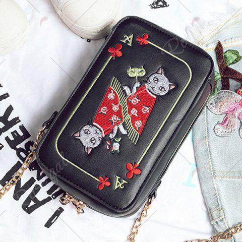 Shops Cartoon Cat Embroidered Crossbody Bag - BLACK  Mobile
