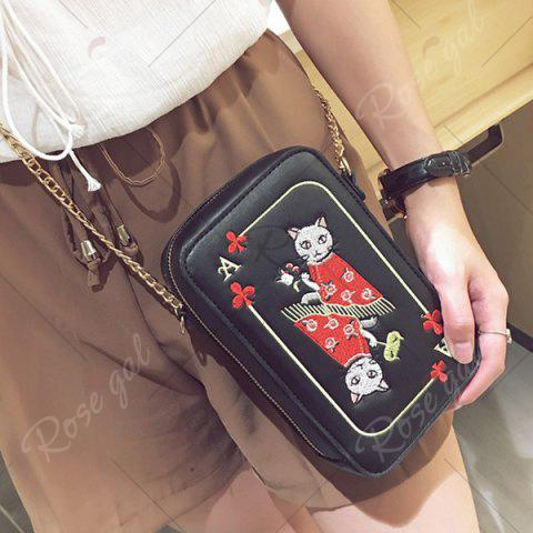 Hot Cartoon Cat Embroidered Crossbody Bag - BLACK  Mobile