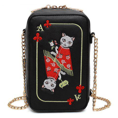 Cartoon Cat Embroidered Crossbody Bag - Black - One Size