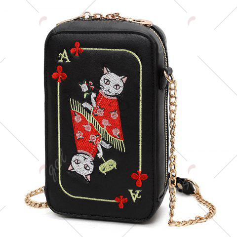 Fashion Cartoon Cat Embroidered Crossbody Bag - BLACK  Mobile