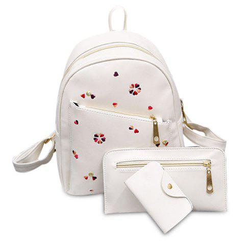 Shop PU Leather Heart Embroidered Backpack Set WHITE