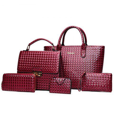 Online 5 Pcs Geometrci Print Handbag Set RED