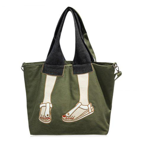 Canvas Funny Embroidery Tote Bag - Green - 40