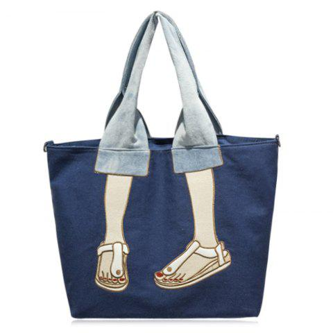 Buy Canvas Funny Embroidery Tote Bag BLUE