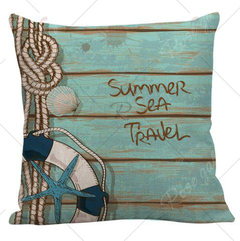 Latest Wood Grain Starfish Printed Pillow Case - 45*45CM LIGHT BLUE Mobile