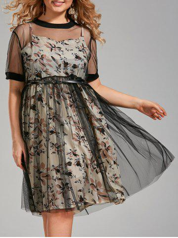 Plus Size Floral Cami Dress and Sheer T-shirt Dress with Belt - Apricot - 3xl