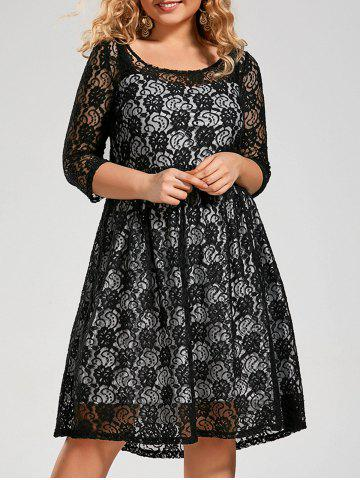 Semi Sheer Plus Size A Line Lace Dress with Sleeves - Black - 6xl